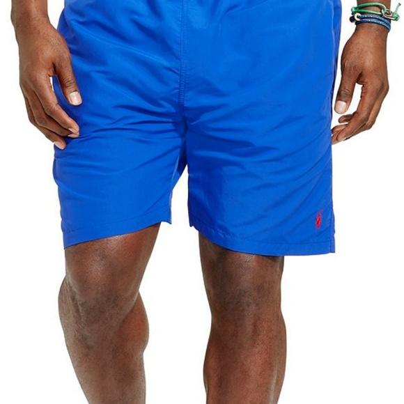 New Polo Ralph Lauren silky blue w// green pony logo Kailua board shorts M XL XXL